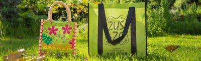 Milieuvriendelijke draagtassen eco tassen groen met hengsel